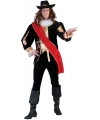 Zwart middeleeuws luxe kostuum voor heren