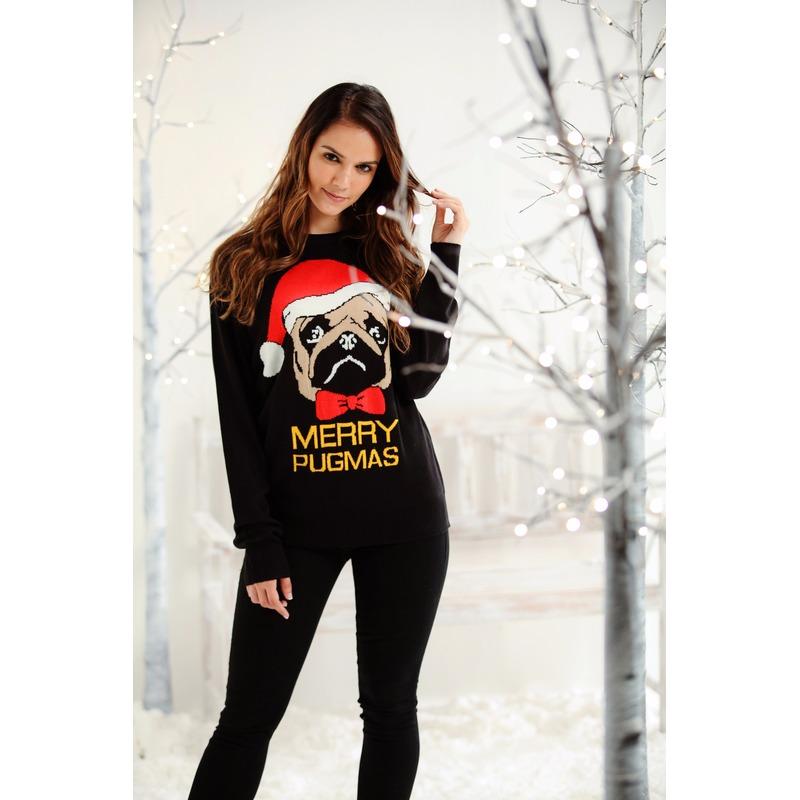 Kersttrui zwart met mopshond voor dames/heren
