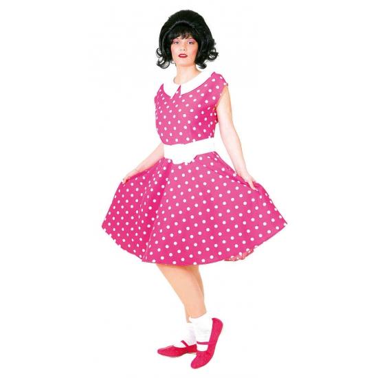 153d6e315c402b Jaren 50 rock n roll jurk roze wit bij Kostuum Voordeel altijd het ...