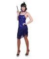 Blauw party jurkje met glitter en franje
