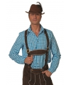 Tiroler overhemd blauw wit geblokt