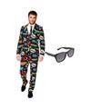 Comic print heren kostuum maat 54 xxl met gratis zonnebril