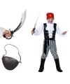 Compleet piraten kostuum maat m voor kids