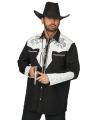 Western overhemd zwart/wit