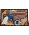 Cowboy revolver blauw compleet