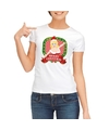 Foute kerst t shirt wit merry christmas voor dames
