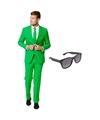 Groen heren kostuum maat 54 xxl met gratis zonnebril