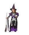 Halloween meisjes heksen kostuum met skelet print