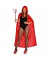 Halloween rode fluwelen cape met capuchon 130 cm