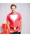 Heren kerst t shirt kerstman met baard