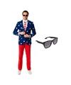 Heren kostuum met amerikaanse vlag print maat 50 l met gratis
