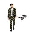 Heren kostuum met batman print maat 46 s met gratis zonnebri