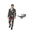 Heren kostuum met comic print maat 52 xl met gratis zonnebr