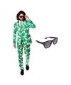 Heren kostuum met kaarten print maat 50 l met gratis zonnebril