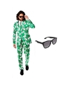 Heren kostuum met kaarten print maat 52 xl met gratis zonnebri