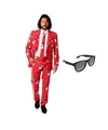 Heren kostuum met kerst print maat 50 l met gratis zonnebril