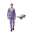 Heren kostuum met rendier print maat 50 l met gratis zonnebri