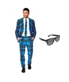 Heren kostuum met schotse print maat 50 l met gratis zonnebri