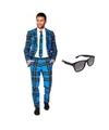Heren kostuum met schotse print maat 52 xl met gratis zonnebri