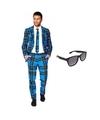 Heren kostuum met schotse print maat 54 2xl met gratis zonnebr