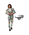 Heren kostuum met televisie print maat 48 m met gratis zonnebr