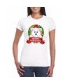 Ijsbeer kerst t shirt wit merry christmas voor dames