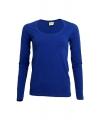 Dames shirts blauw lange mouwen 200 gram