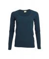 Dames shirts navy lange mouwen 200 gram