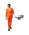 Oranje heren kostuum maat 46 s met gratis zonnebril