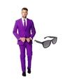 Paars heren kostuum maat 54 xxl met gratis zonnebril