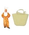 Paashaas kostuum maat l xl met paasmandje voor volwassenen