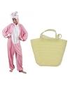 Paashaas kostuum roze met paasmandje voor dames