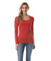 Dames shirts rood lange mouwen 200 gram