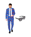 Superman heren kostuum maat 54 xxl met gratis zonnebril