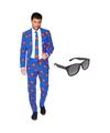 Superman heren kostuum maat 58 xxxxl met gratis zonnebril