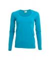 Dames shirts turquoise lange mouwen 200 gram