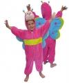Roze vlinder kostuum van pluche