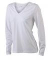 Basic dames shirt V-hals lange mouw wit
