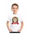 Wit kerst t shirt voor kinderen met een pinguin