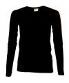 Dames shirts zwart lange mouwen 200 gram